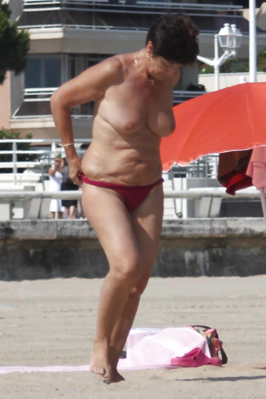 Mature women at the beach